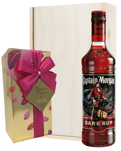 Captain Morgan Dark Rum And Chocolates Gift Set