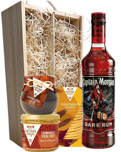 Captain Morgan Dark Rum And Gourmet Food Gift Box