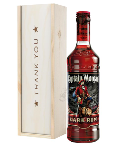 Captain Morgan Rum Thank You Gift In Wooden Box