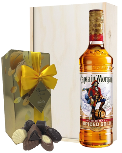 Captain Morgan Spiced Rum And Chocolates Gift Set