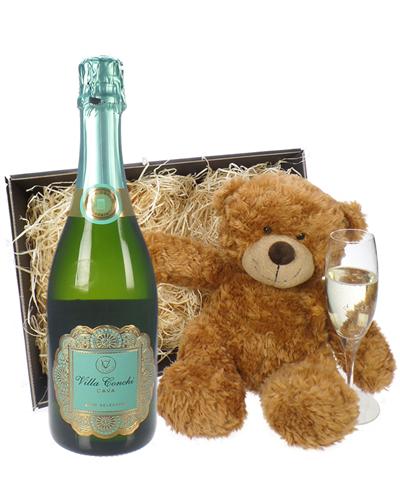 Cava And Teddy Bear Gift Basket