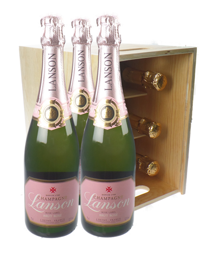 Lanson Rose Champagne Six Bottle Wooden Crate