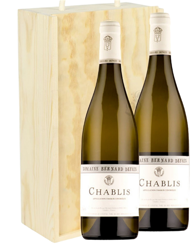Chablis Two Bottle Wine Gift in Wooden Box