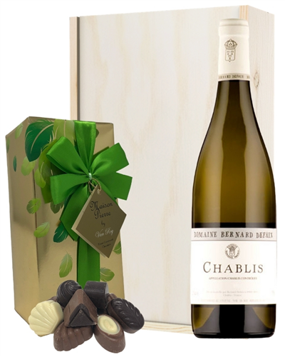 Chablis White Wine and Chocolates Gift Set in Wooden Box