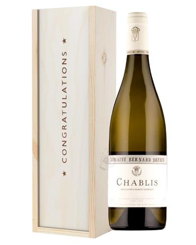 Chablis White Wine Congratulations Gift In Wooden Box