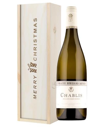 Chablis White Wine Single Bottle Christmas Gift In Wooden Box