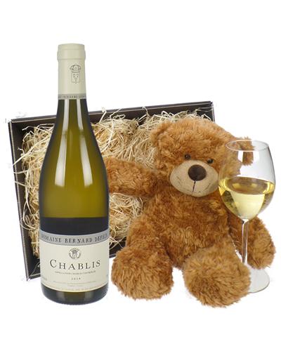 Chablis Wine and Teddy Bear Gift Basket