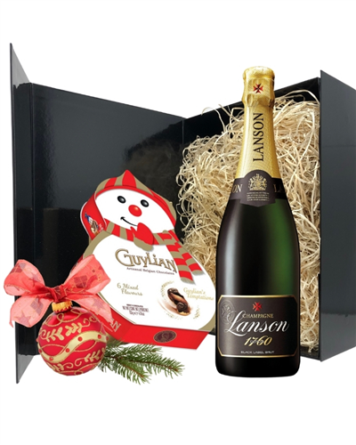 Champagne And Snowman Chocolates Gift
