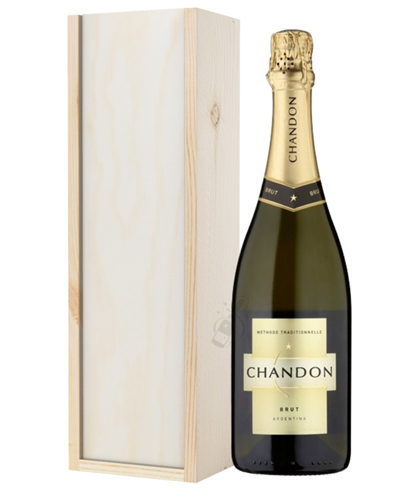 Chandon Brut Sparkling Wine Gift in Wooden Box