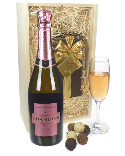 Chandon Rose Sparkling Wine And Belgian Chocolates