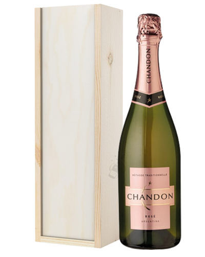 Chandon Rose Sparkling Wine Gift in Wooden Box