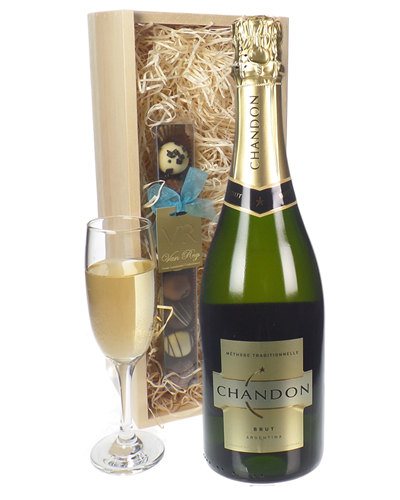 Chandon Sparkling Wine and Chocolates Gift Set in Wooden Box