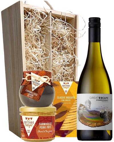 Chardonnay Wine & Gourmet Food Gift Box