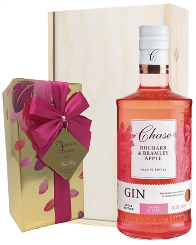 Chase Rhubarb and Bramley Apple Gin And Chocolates Gift Set