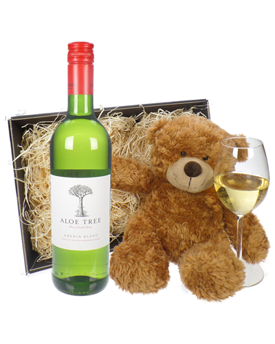 Chenin Blanc White Wine and Teddy Bear Gift Basket