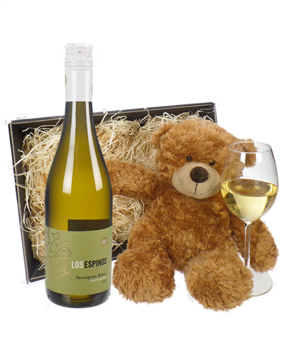 Chilean Sauvignon Blanc White Wine and Teddy Bear Gift Basket