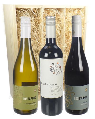Chilean Three Bottle Wine Gift in Wooden Box