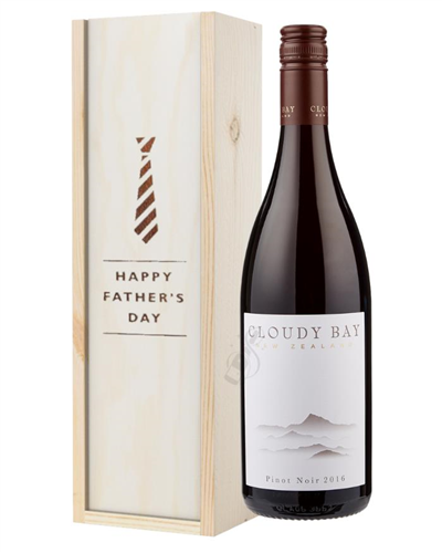 Cloudy Bay Pinot Noir Red Wine Fathers Day Gift In Wooden Box