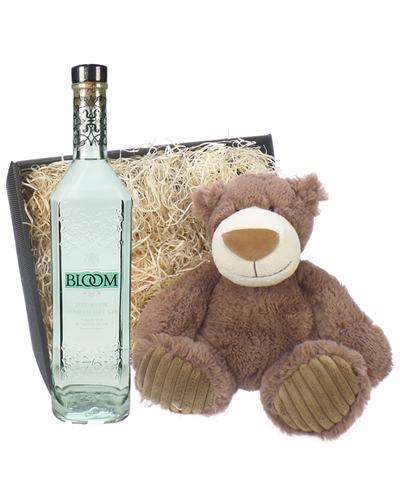 Bloom Gin And Teddy Bear Gift Basket