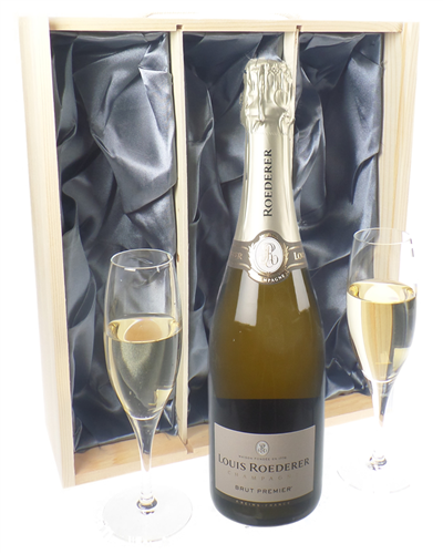 Louis Roederer Champagne Gift Set With Flute Glasses
