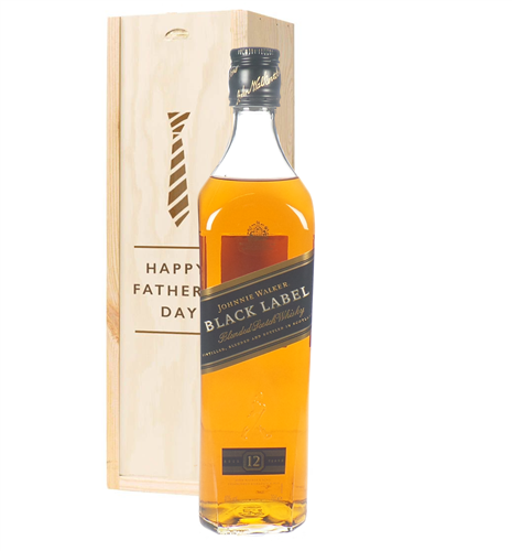 Johnnie Walker Black Label Whisky Fathers Day Gift In Wooden Box