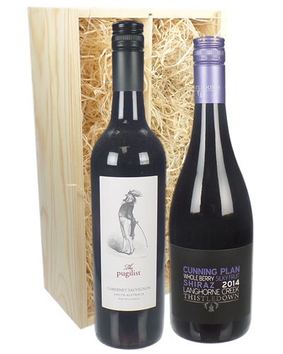 Australian Red Two Bottle Wine Gift in Wooden Box