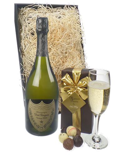 Dom Perignon Champagne & Belgian Chocolates Gift Box