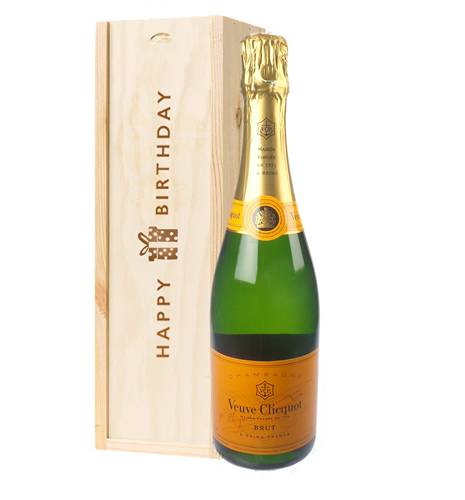 Veuve Clicquot Champagne Birthday Gift In Wooden Box