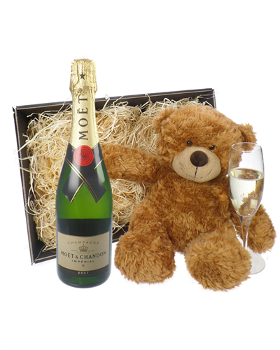 Moet & Chandon Champagne and Teddy Bear Gift Basket