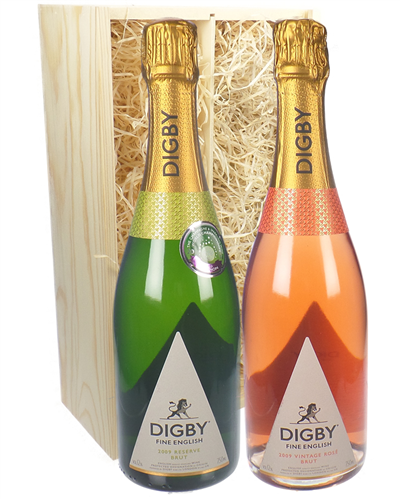 English Sparkling Wine Mixed Two Bottle Wine Gift in Wooden Box