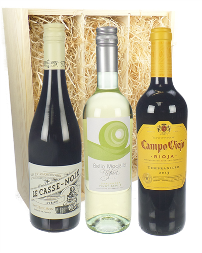 Eurozone Mixed Three Bottle Wine Gift in Wooden Box