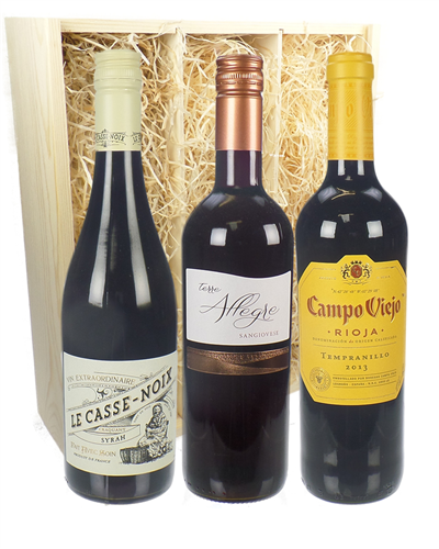 Eurozone Red Wine Three Bottle Wine Gift in Wooden Box