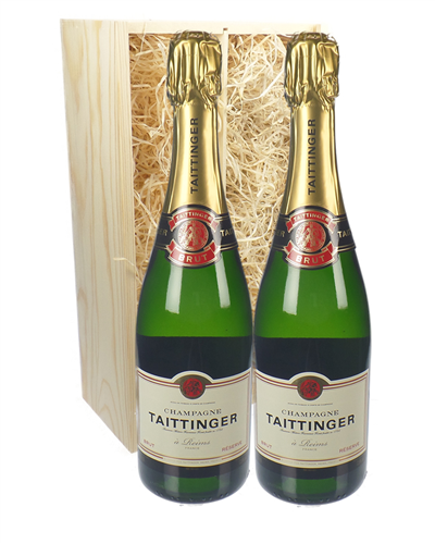 Taittinger Two Bottle Champagne Gift in Wooden Box