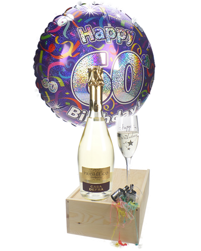60th Birthday Prosecco And Flute Gift