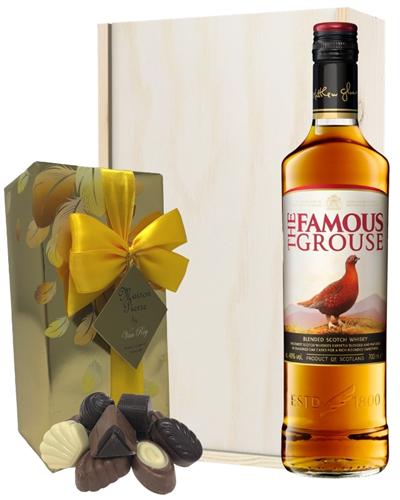 Famous Grouse Whisky And Chocolates Gift Set in Wooden Box