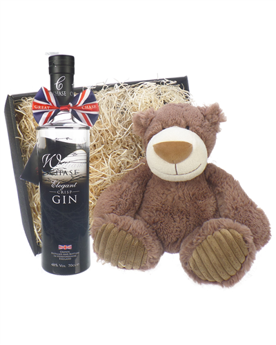 Chase Gin And Teddy Bear Gift Basket