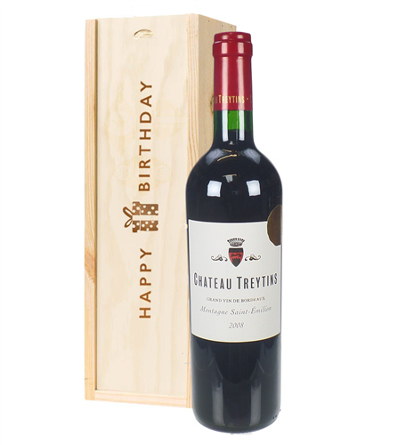 French Bordeaux Red Wine Birthday Gift In Wooden Box