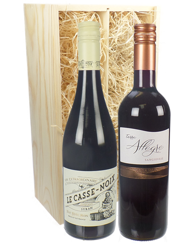 French And Italian Red Two Bottle Wine Gift in Wooden Box