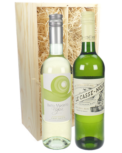 French And Italian White Two Bottle Wine Gift in Wooden Box
