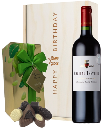 French Bordeaux Red Wine and Chocolate Birthday Gift Box