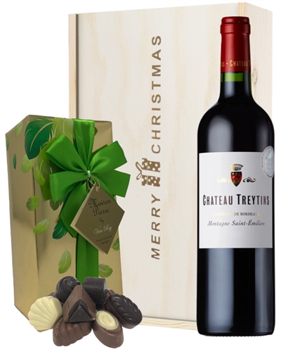 French Bordeaux Red Wine Christmas Wine and Chocolate Gift Box