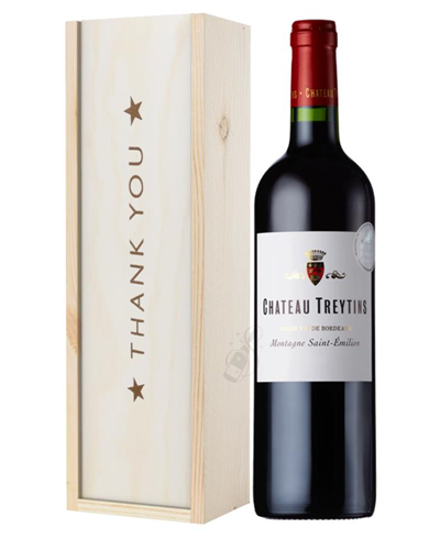 French Bordeaux Red Wine Thank You Gift In Wooden Box