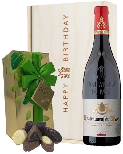 French Chateauneuf Du Pape Wine and Chocolate Birthday Gift Box