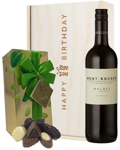 French Malbec Red Wine and Chocolate Birthday Gift Box