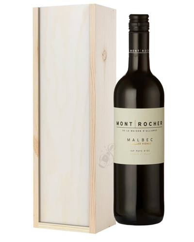 French Malbec Red Wine Gift in Wooden Box