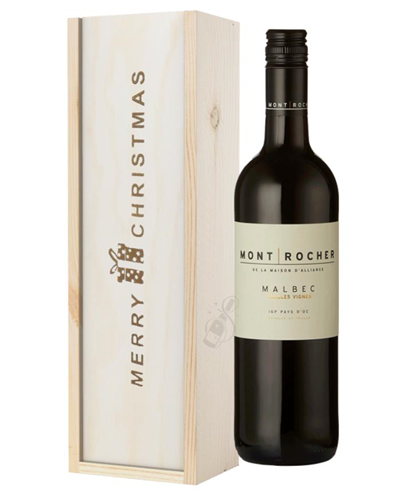 French Malbec Red Wine Single Bottle Christmas Gift In Wooden Box