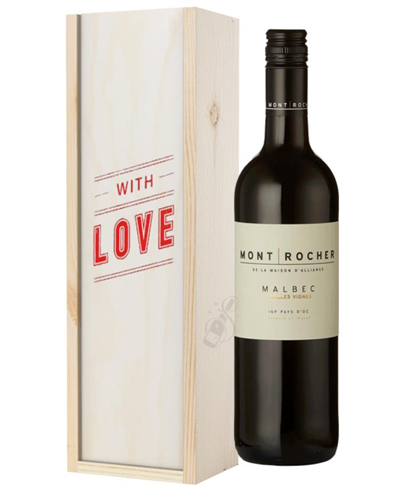 French Malbec Red Wine Valentines With Love Special Gift Box