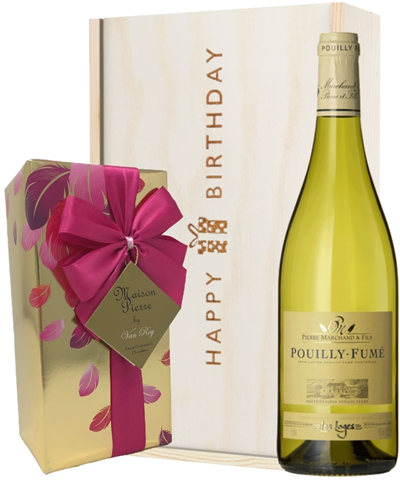 French Pouilly Fume White Wine and Chocolate Birthday Gift Box