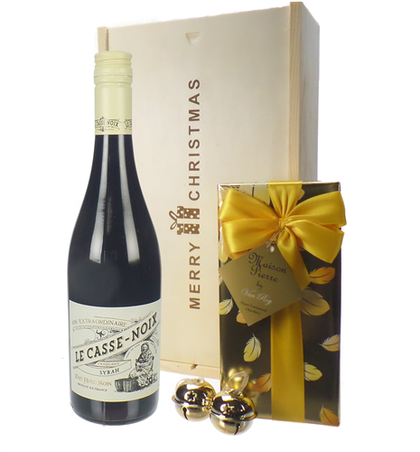 French Syrah Christmas Wine and Chocolate Gift Box