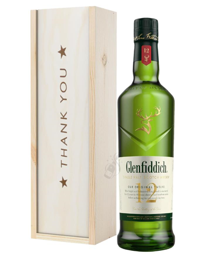 Glenfiddich 12 Year Old Single Malt Whisky Thank You Gift In Wooden Box